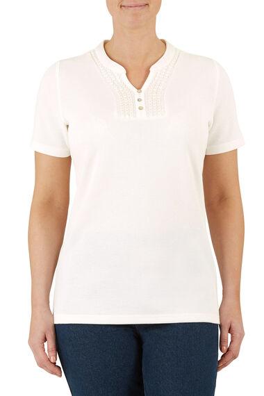 Lace Detail Rib Back T-Shirt