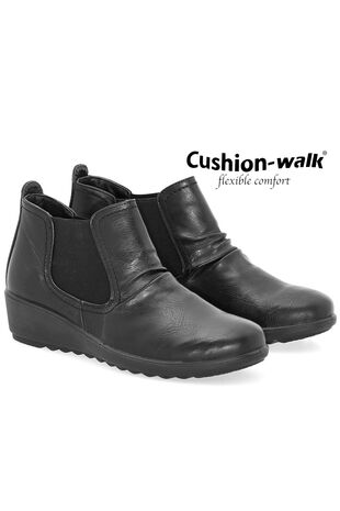 Cushion Walk Elasticated Wedge Ankle Boot
