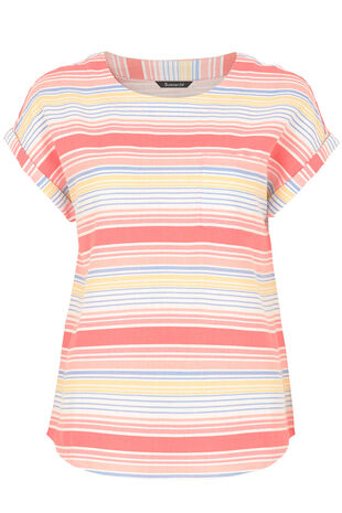 Stripe Print Linen Mix Top