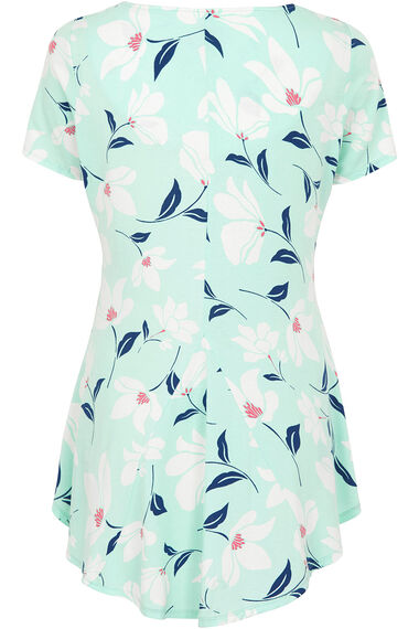 Floral Print Godet Tunic With Necklace