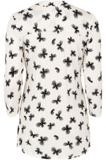 Butterfly Print Pintuck Jersey Top