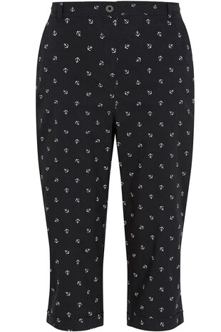 Anchor Print Cotton Cropped Trousers