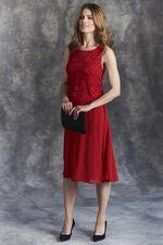Sleeveless Lace Overlay Dress