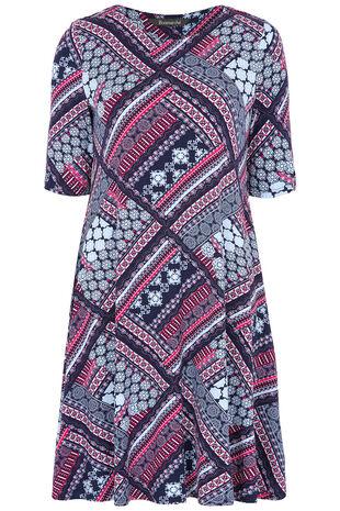 Patchwork Printed Swing Dress