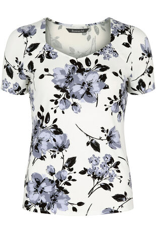 Grey Floral Sweetheart Neck Top