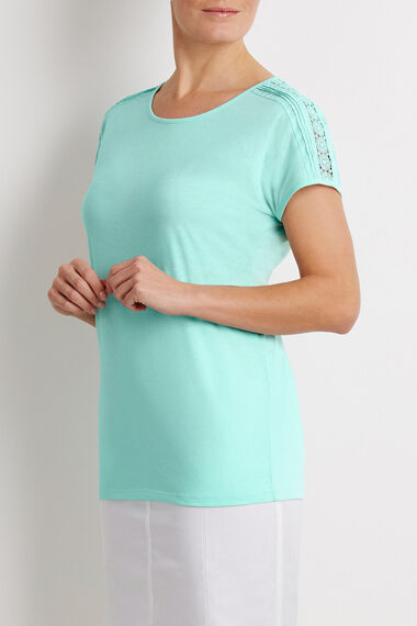 Pleated Woven Shoulder Scoop T-Shirt