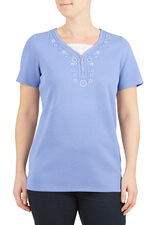 Embroidered Lace Detail T-Shirt