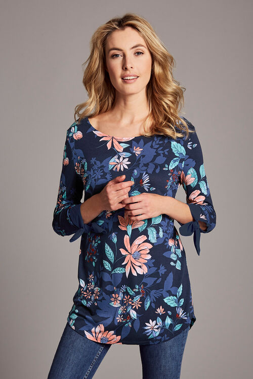 Floral Printed Jersey Tunic With Tie Cuff