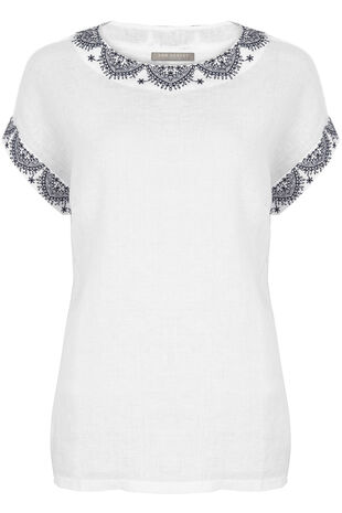 Ann Harvey Linen Blend Embroidered Top