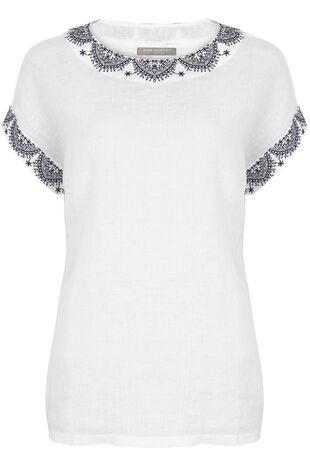 Ann Harvey Linen Blend Embroidered Top