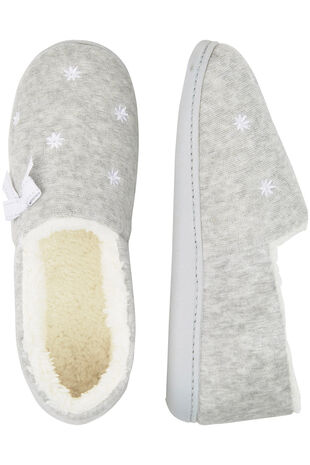 Grey Marl Embroidered Moccasin