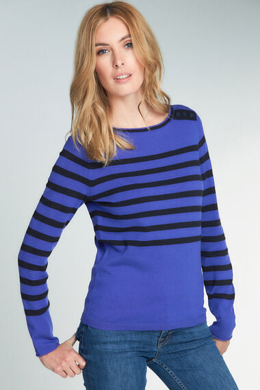 Striped Button Detail Jumper