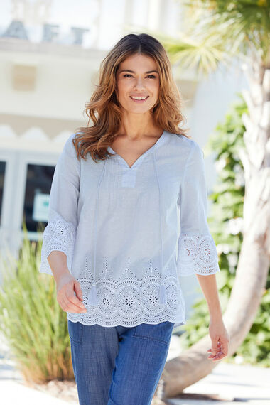 Embroidered Bell Sleeve Blouse