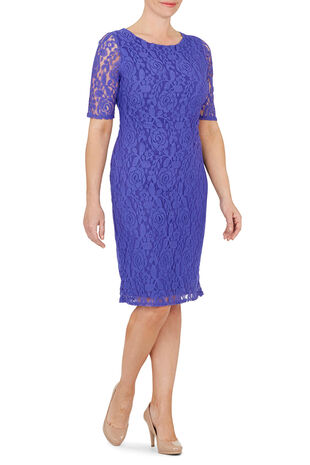 David Emanuel Half Sleeve Lace Dress