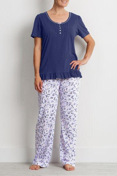 Navy Frill Hem Pleat Pyjama Top