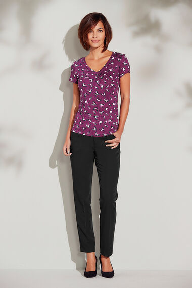 Butterfly Print V Neck Jersey Top