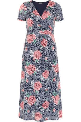 Short Sleeve Floral Burnout Dress