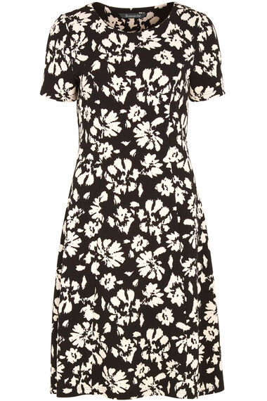 Floral Printed Fit & Flare Waffle Dress