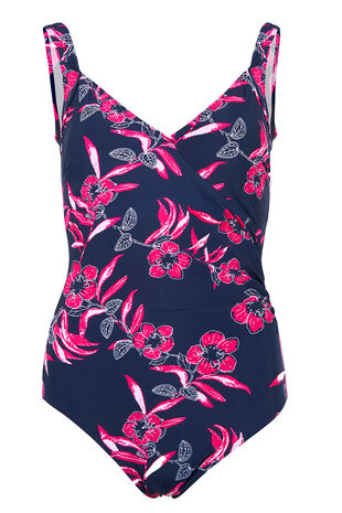 Floral Navy Wrapfront Swimsuit