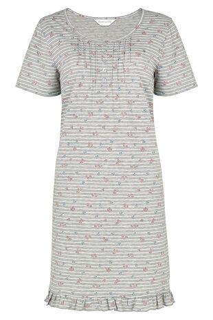 Grey Stripe Print Frill Hem Nightdress