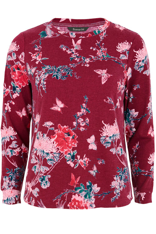 Floral Print Textured Sweater