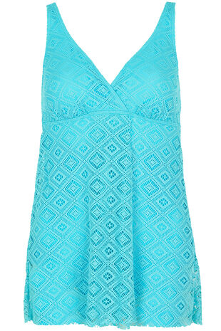 Textured Wrap Front Swimdress