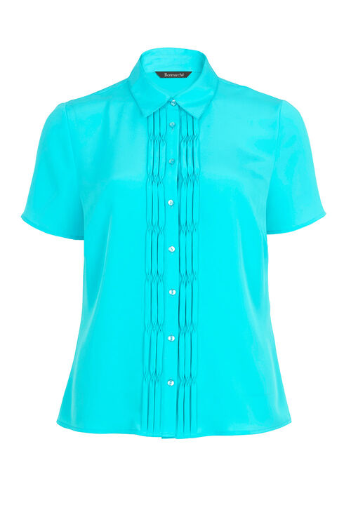Short Sleeve Pleat Front Blouse