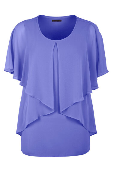 David Emanuel Layered Cape Back Blouse