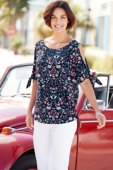 Cold Shoulder Paisley Floral Print Top