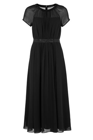 David Emanuel Signature Embellished Neck Maxi Dress