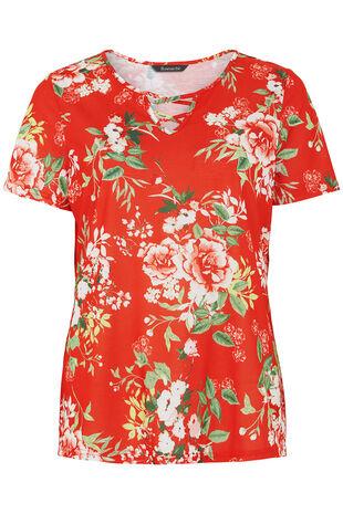 Floral Print Cross V Neck T-Shirt