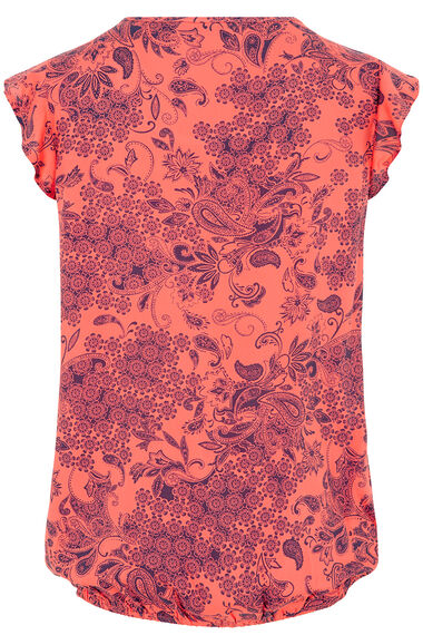 Frill Sleeve Tile Print Top