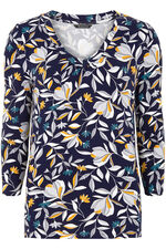 3/4 Sleeve Floral Print V-neck Top