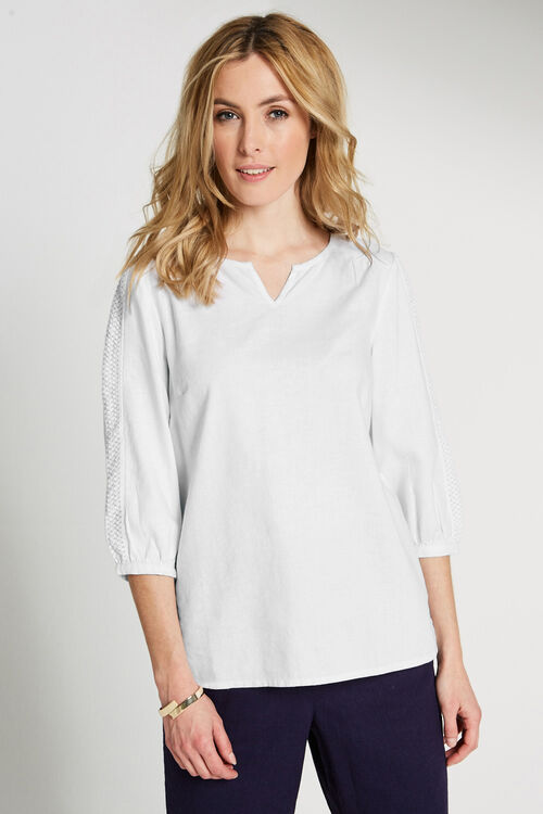 Linen Blouse with Lace Trim