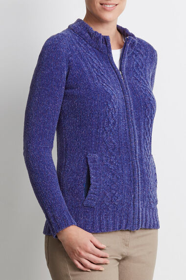 Chenille Zip Up Cardigan