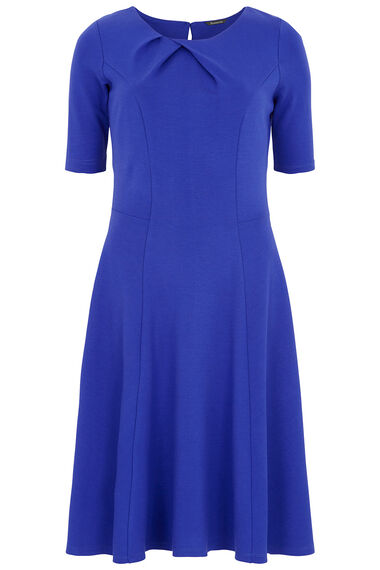 Pleated Neck Fit and Flare Ponte Dress