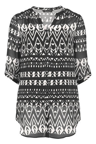 David Emanuel Geo Print Longline Button Blouse