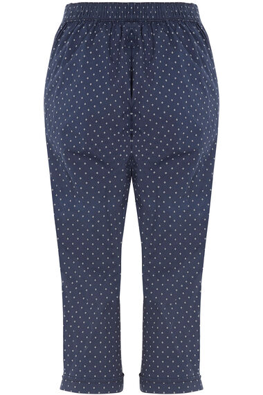 Diamond Print Cotton Cropped Trousers