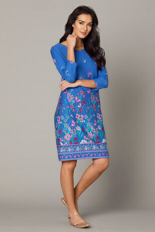 Border Print Ponte Tunic Dress