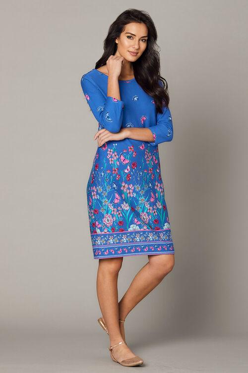 Border Print Ponte Tunic Dress