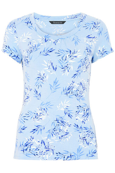 Leaf Print Round Neck Top