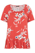 Floral Print Jersey Top With Peplum Hem