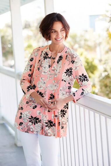 Summer Sketch Floral Print Pintuck Jersey Top