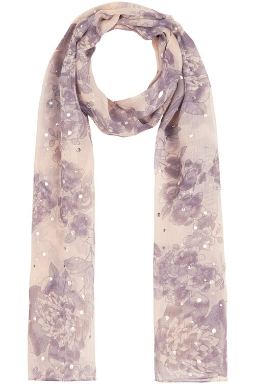 Floral Chiffon Scarf With Foil Detail