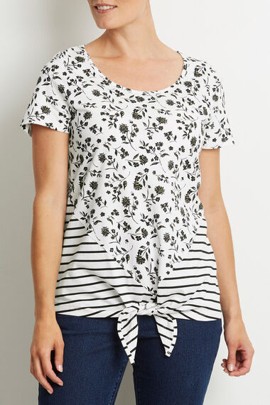 Printed Tie Front T-Shirt