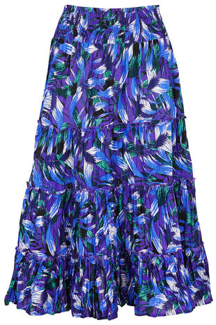Tropical Leaf Crinkle Skirt