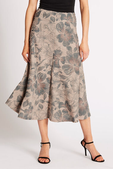 Printed Textured Floral Skirt