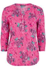 Floral Button Burnout T-Shirt