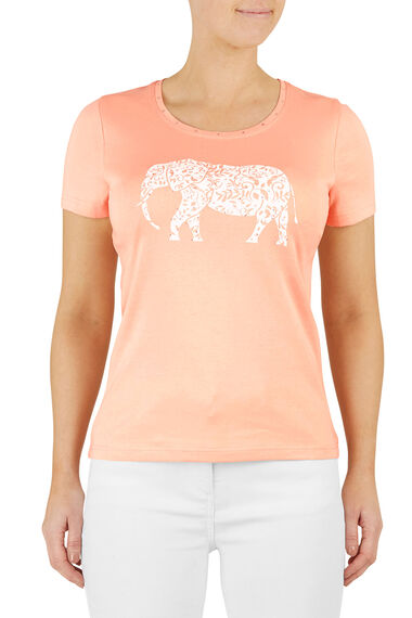Cotton Animal Placement Print T-Shirt