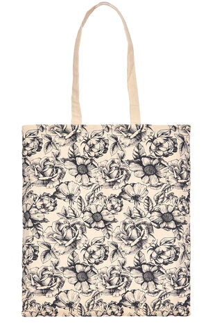 Floral Print Cotton Shopper Bag